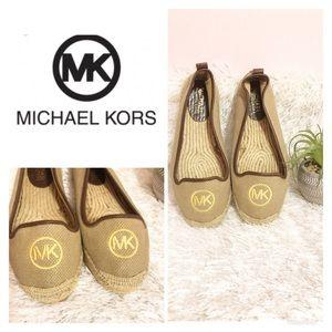 MK Michael Kors Gold Canvas Espadrilles / Flats!